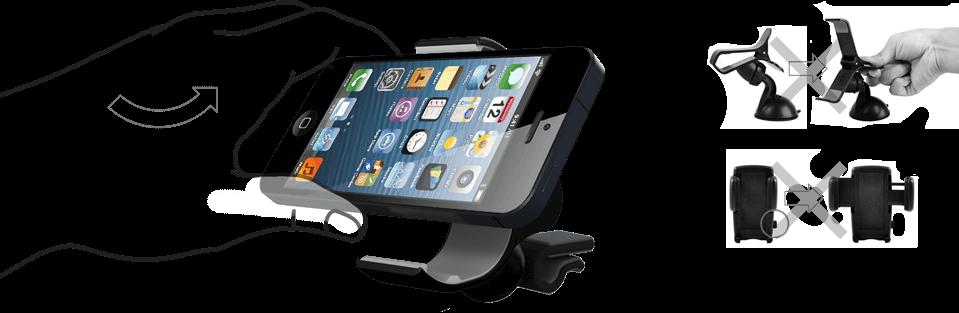 фото установки смартфона в Vent-Clip5